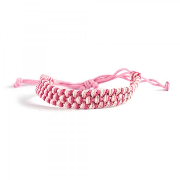 Armband geflochten, weiß, pink, Ø 10 cm