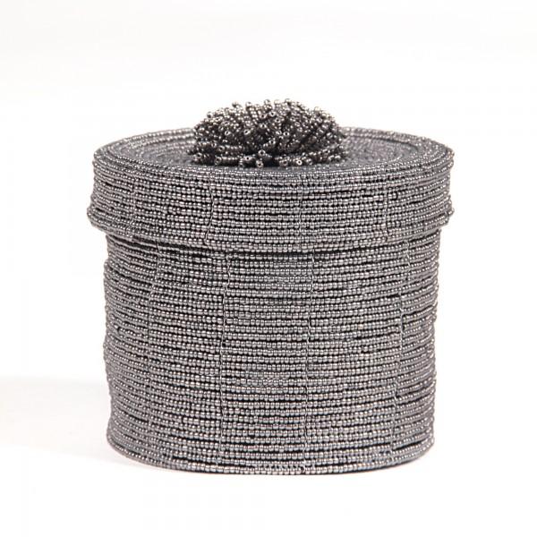 Deckelbehälter aus Glasperlen L, schwarz, weiß, Ø 11 cm, H 11 cm