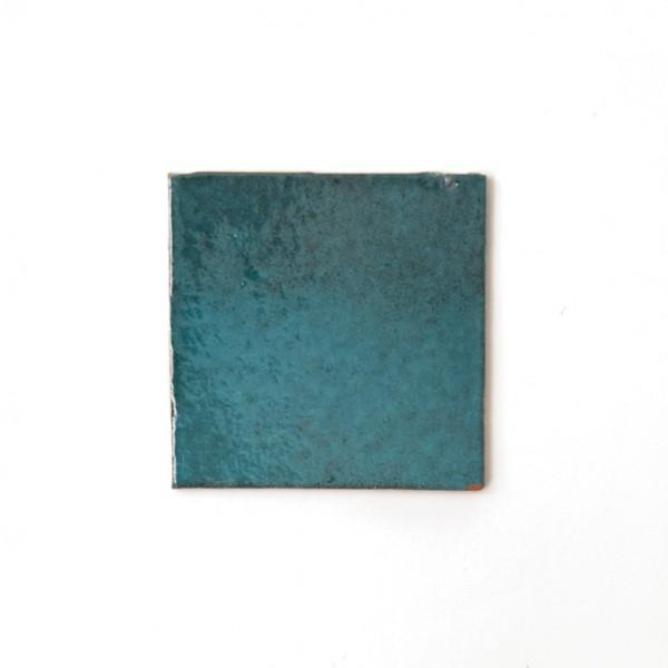 handglasierte Kachel 'turquoise', türkis, L 10 cm, B 10 cm