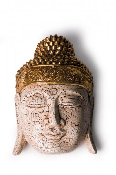 Buddha-Maske, antikweiß, gold, T 26 cm, B 11 cm, H 40 cm