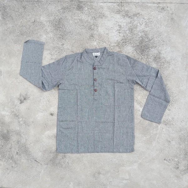 Langarmshirt mit Knopfleiste 'Kura' L, Grau, T 75 cm, B 61 cm
