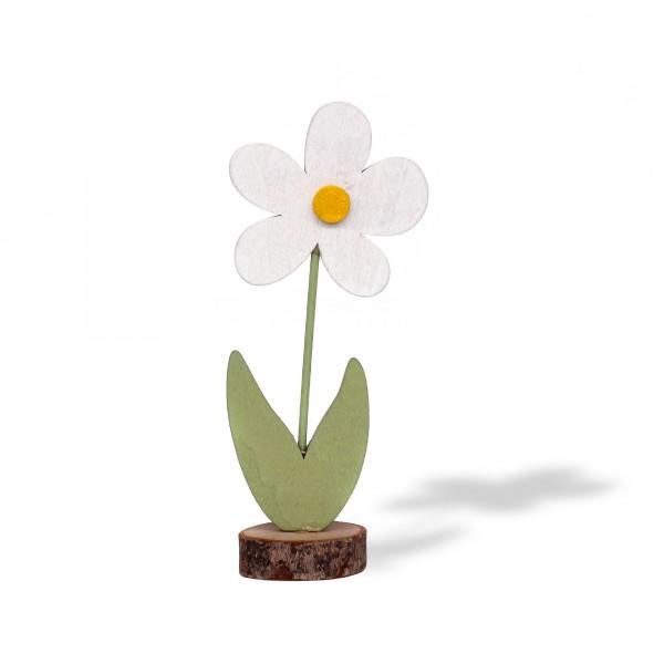 Holzblume, weiß, T 5 cm, B 3,5 cm, H 12 cm