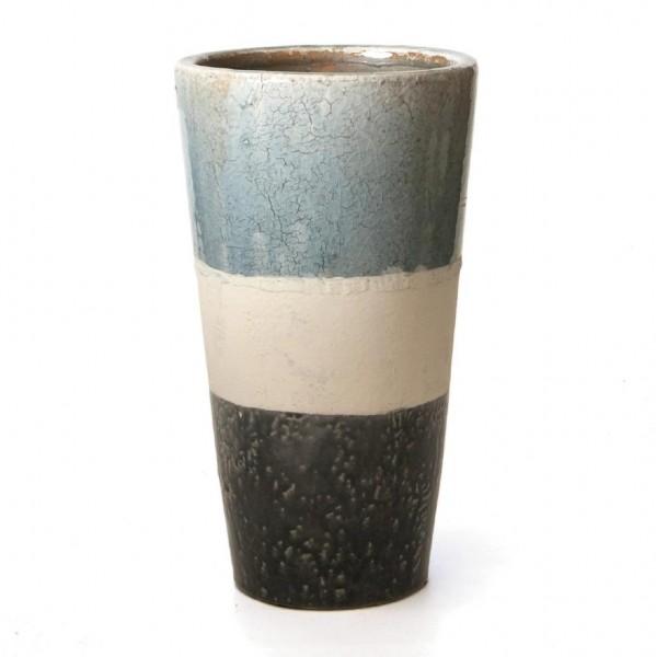 """Pflanztopf """"Stripes"""", grau/weiß/blau, H 34 cm, Ø 19 cm"""