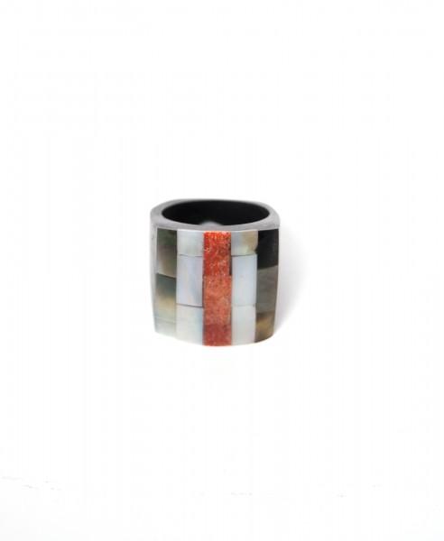 Ring Perlmuttmosaik, natur, T 3 cm, B 3 cm, H 0,5 cm
