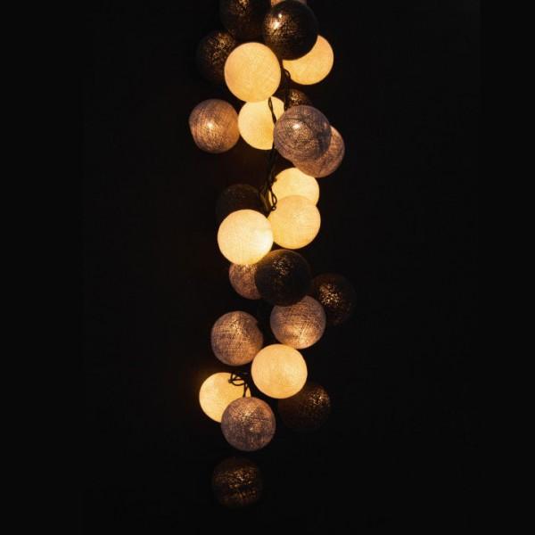 Kugellichterkette mit 35 Kugeln, grau