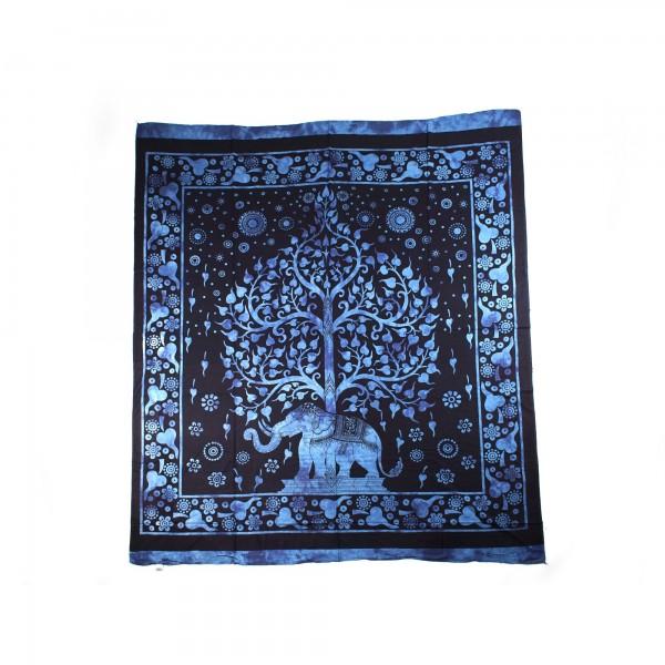 "Tagesdecke ""Elefanten"", aus 100% Baumwolle, blau/schwarz, L 250 cm, B 220 cm"