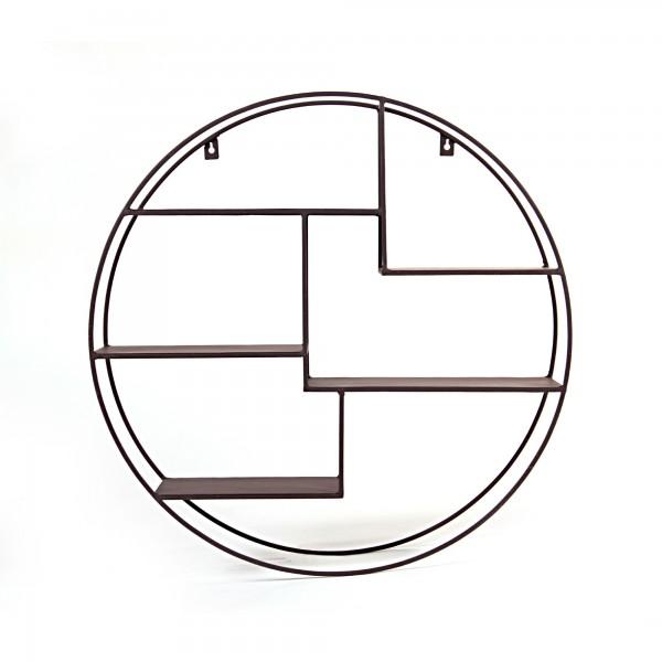 Wandregal mit versetzten Ebenen, Rost-Optik, Ø 60 cm