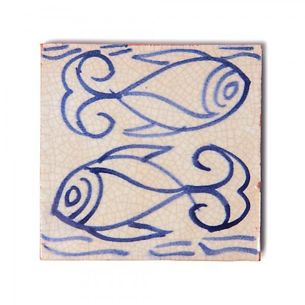 """Fliese """"Fish"""", blau/weiß, L 10 cm, B 10 cm, H 1 cm"""