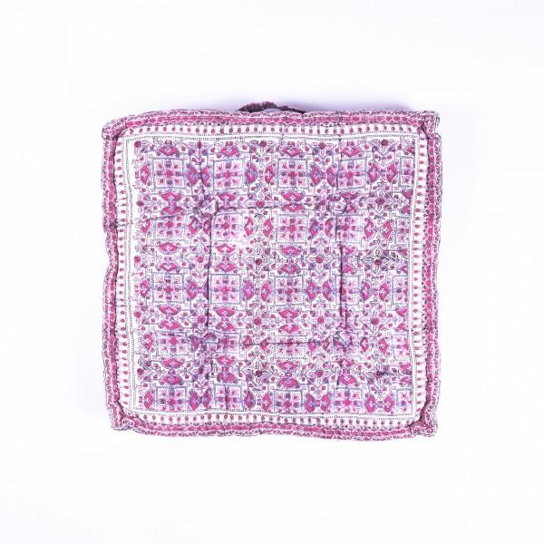Sitzkissen 'Pink Grey Flower', manuelles Blockprintverfahren, L 50 cm, B 50 cm, H 8 cm
