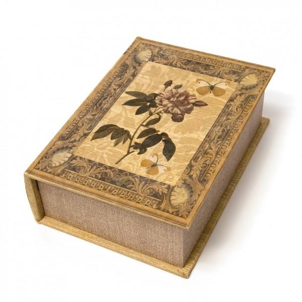 """Buchhülle """"Rose"""" mit Schließfach, braun, L 15,5 cm, B 7 cm, H 22 cm"""