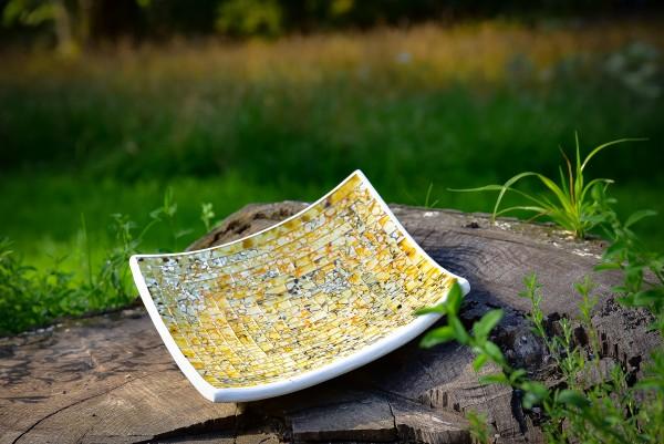 Mosaikteller rechteckig, gelb, L 25 cm, B 25 cm