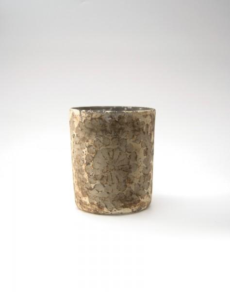 Windlicht 'Flor', gold-grau, Ø 10 cm, H 13 cm