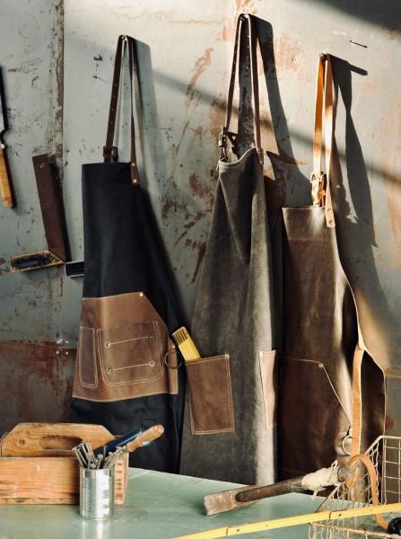 Schürze Volleder, schwarz, braun, T 82 cm, B 71 cm
