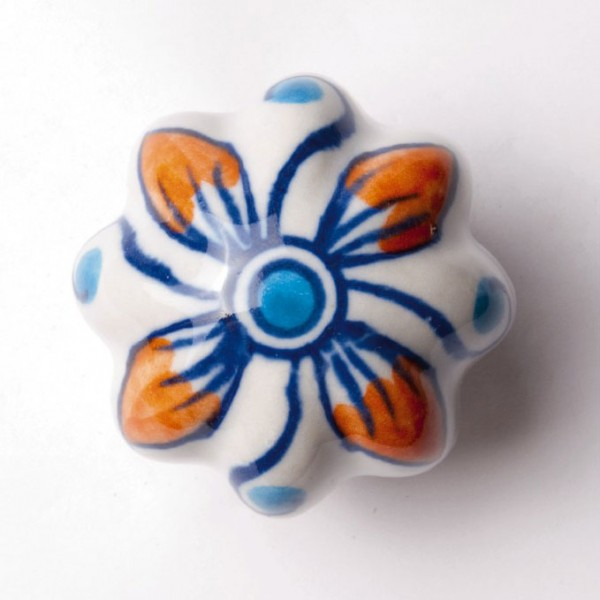 "Türknauf ""Blume"", blau/orange, Ø 5,5 cm"