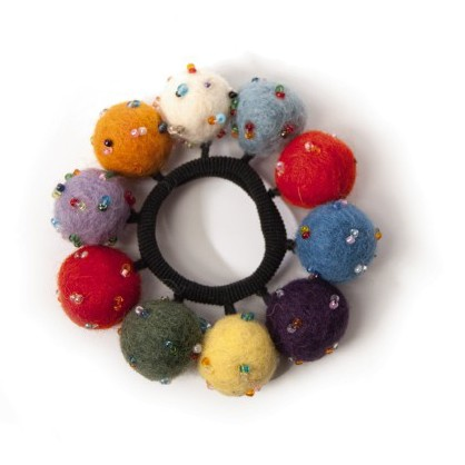 Handgefilzter Haarband 'Perlenball' aus Nepal, aus 100% Schafswolle