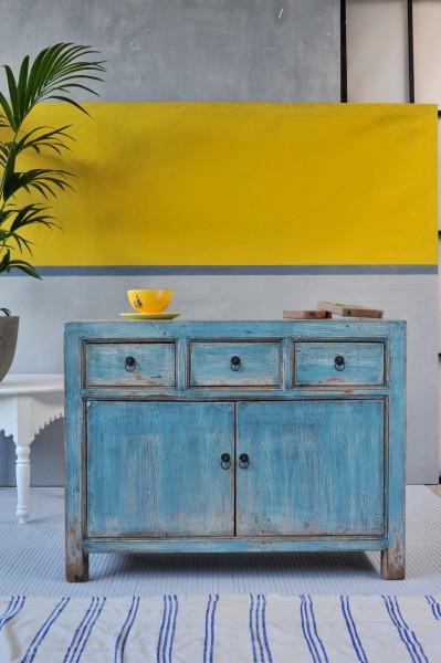 Sideboard, 3 Schubladen, 2 Türen, blau, T 42 cm, B 110 cm, H 85 cm