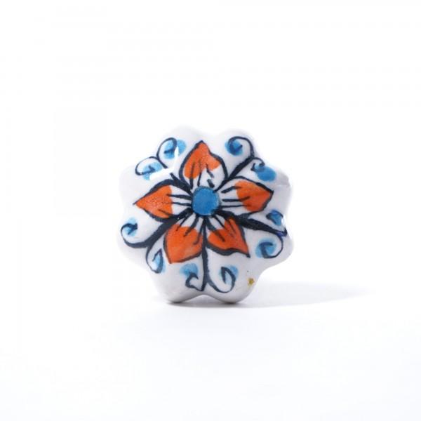 "Keramik Möbelknopf ""Blume"", handglasiert, orange/blau, Ø 4 cm"