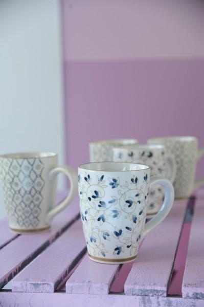 Tasse Gordes 'Braune Blüte', weiß/braun, H 12 cm, Ø 9,5 cm