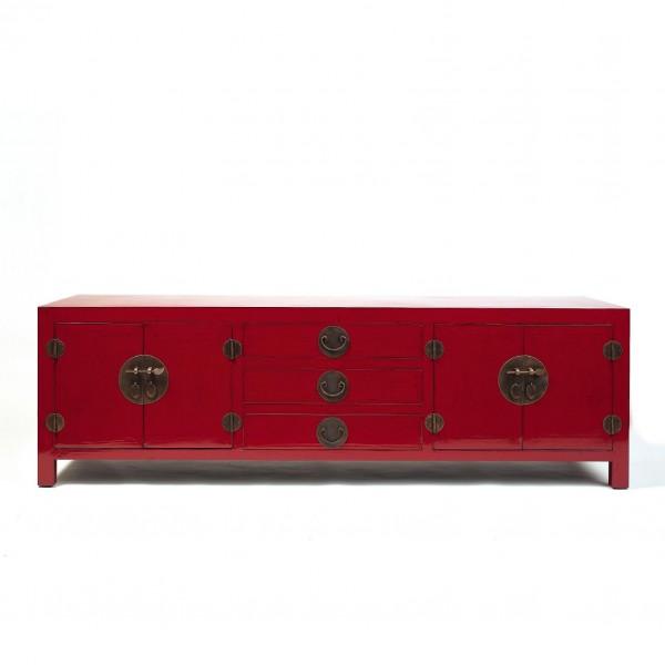 Sideboard mit 2 Türen und 3 Schubladen, rot, H 59 cm, B 190 cm, T 58 cm