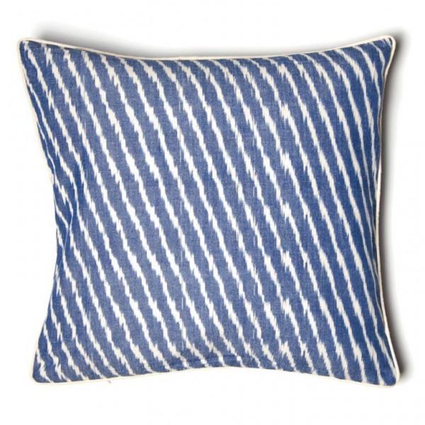 """Kissenhülle """"Ikkat"""", blau/weiß, L 45 cm, B 45 cm"""