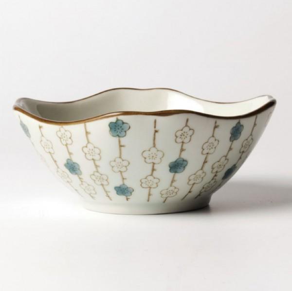 """Schale """"Blumenkette"""", blau/beige, H 5 cm, Ø 11,5 cm"""