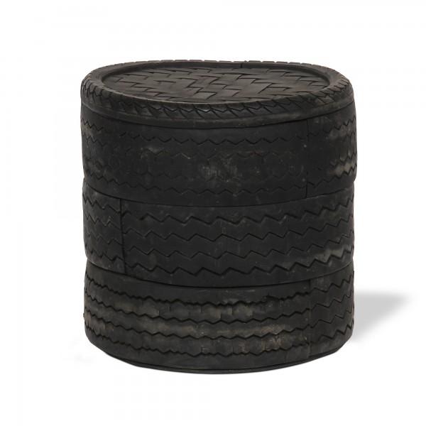 Beistelltisch aus Autoreifen, schwarz, Ø 50 cm, H 45 cm