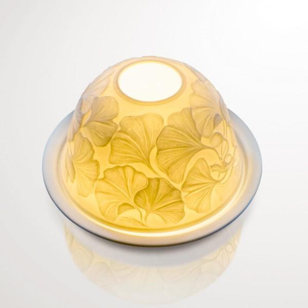 """Windlicht """"Ginkgo"""" aus Porzellan, Ø 12 cm, H 7,5 cm"""