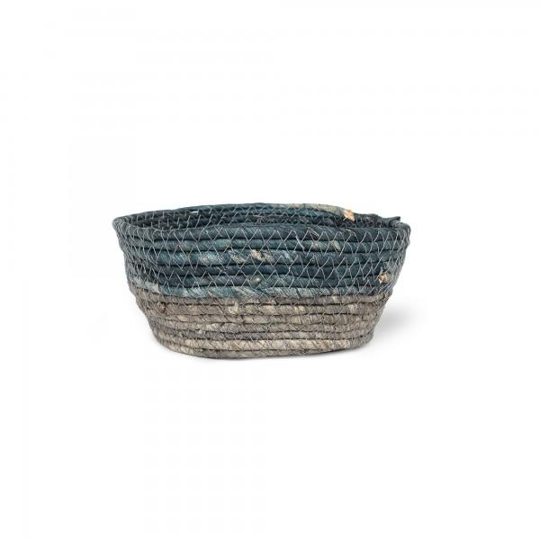 Korb 'Bella' S, türkisgrün, grau, Ø 18 cm, H 8 cm