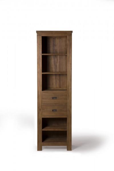Bücherschrank, 5 Fächer, 2 Schubladen, braun, T 40 cm, B 60 cm, H 200 cm
