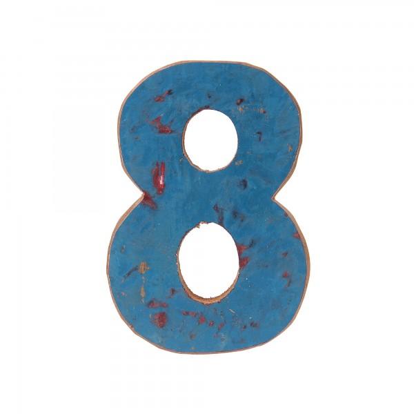 Holzziffer '8', multicolor, T 2,5 cm, B 13 cm, H 19 cm