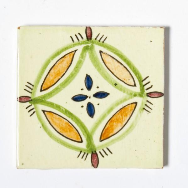 "Fliese ""fleur pique"", beige/orange/grün, L 10 cm, B 10 cm, H 1 cm"