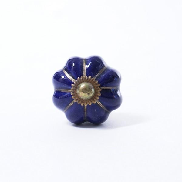 "Keramik Möbelknopf ""Blume"", handglasiert, blau, Ø 3,5 cm"