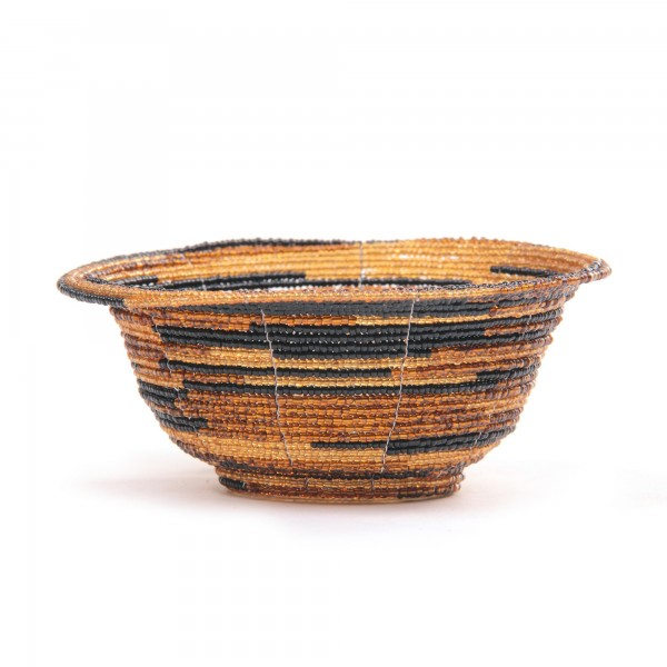 Glasperlenschale, schwarz/gold, Ø 13 cm, H 6 cm