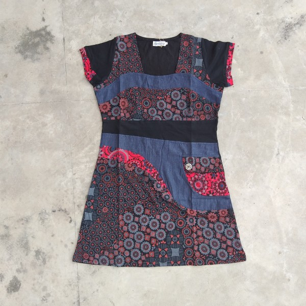 Kleid 'Lella' L, denim, schwarz, rot