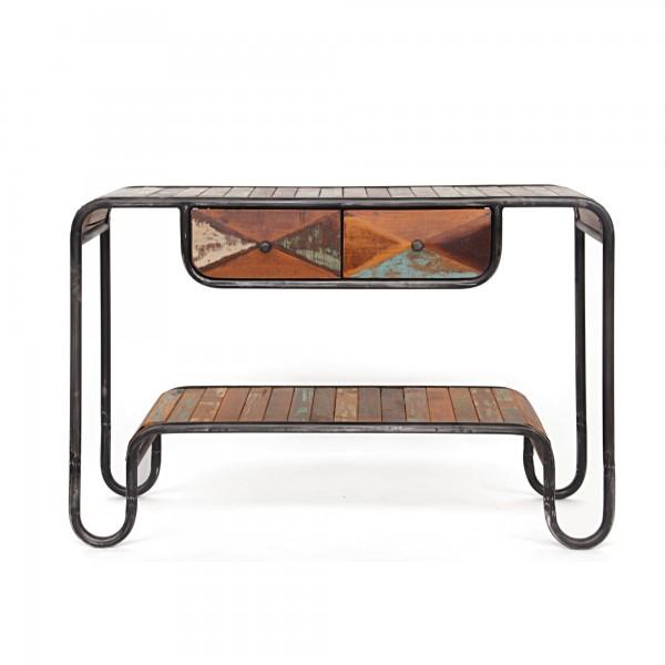 Schubladenkonsole 'Groover', braun, schwarz, T 40 cm, B 120 cm, H 77 cm