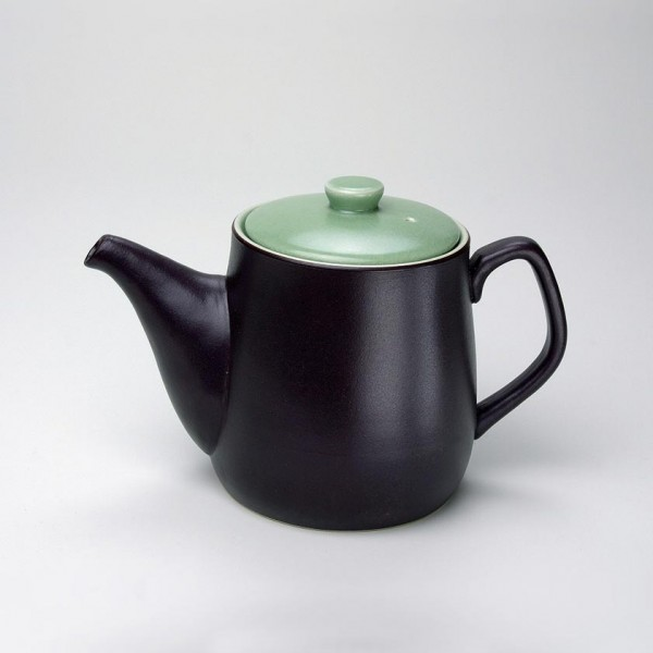 "Teekanne ""Am cafe lun"" mit grünem Deckel, dunkelbraun/grün, H 12 cm, Ø 10 cm"