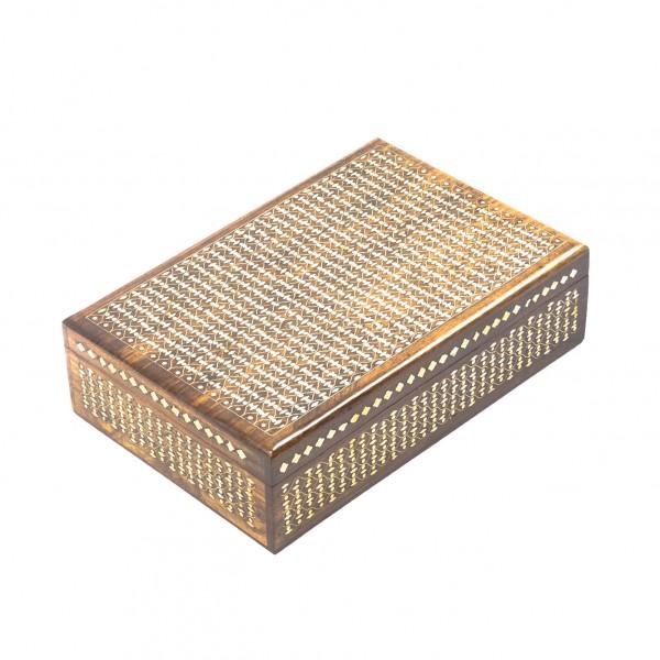 Holzschatulle mit Messingintarsien, braun, L 20 cm, B 30 cm, H 9 cm