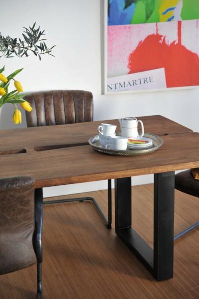 Tisch 'Diega', braun/schwarz, L 100 cm, B 200 cm, H 75 cm