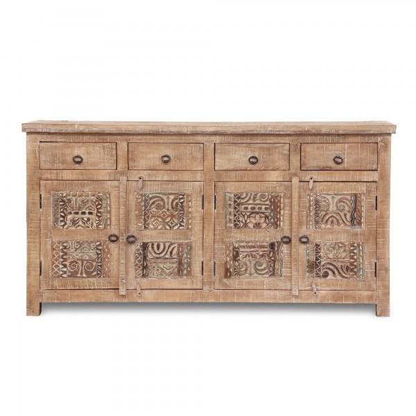 Sideboard 'Sharina', 4 Schubladen, 4 Türen, natur, weiß gekälkt, T 40 cm, B 175 cm, H 90 cm