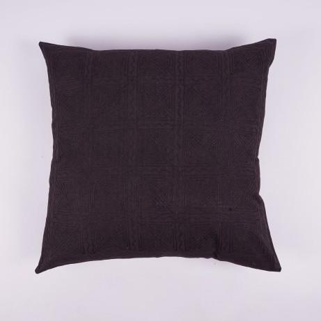 Handbestickte Kissenhülle, dunkelbraun, L 60 cm, B 60 cm