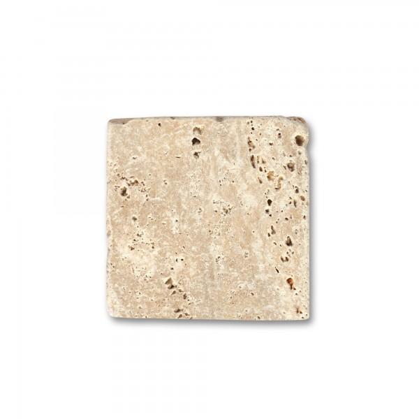 Travertin Steinplatte antik, natur, T 10 cm, B 10 cm, H 1 cm