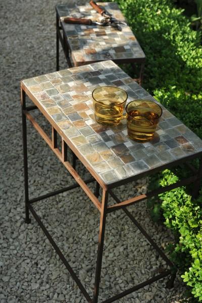 Mosaiktisch 'Schach' aus Naturstein, grau/braun
