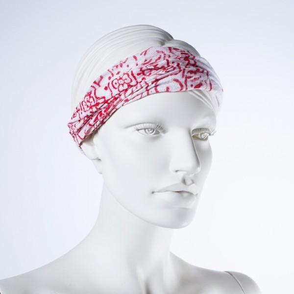 """Haarband """"Orlando"""", aus 100% Baumwolle, rot/weiß"""