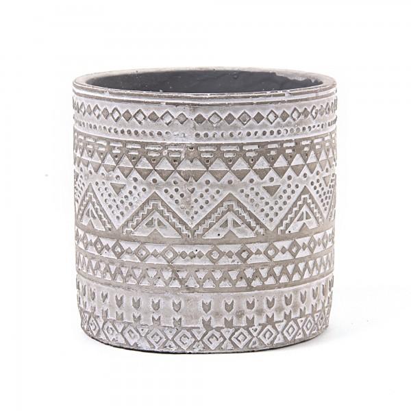 Zementtopf 'Maori' rund, grau, weiß, Ø 16,5 cm, H 16 cm