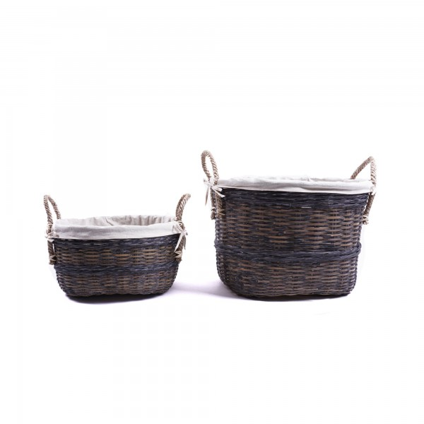 Bambuskorb mit Henkeln, grau, verschiedene Größen