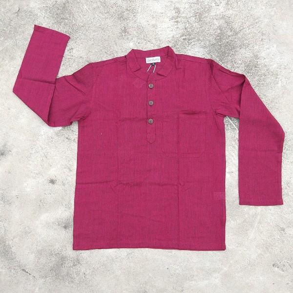Langarmshirt mit Knopfleiste 'Kura' M, Dunkelrot, T 73 cm, B 58 cm