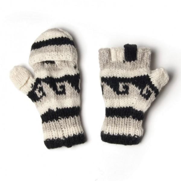 Handschuhe, beige/schwarz, Finger klappbar