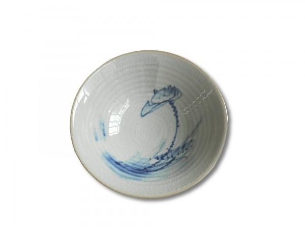 Keramikschale, weiß, blau, Ø 18 cm, H 6 cm