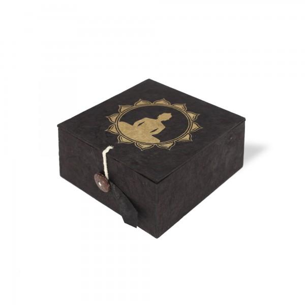 Lokta Box Buddha, schwarz, gold, T 11 cm, B 11 cm, H 5,5 cm