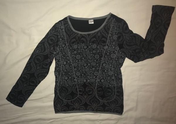 Top 'Paidi' langarm XL, grau, schwarz